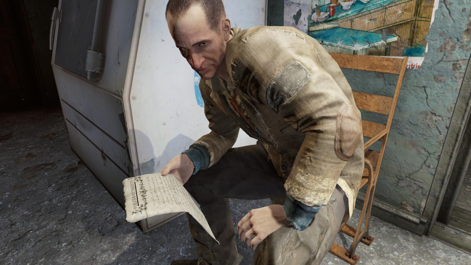 Bobrov reading anewspaper