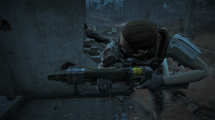 The lone provisioner peeking around a corner with a laser rifle