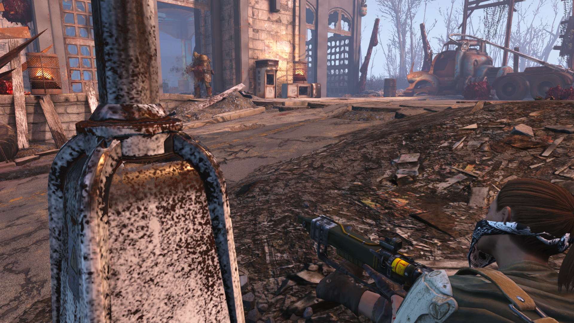 The lone provisioner shooting at a supermutant