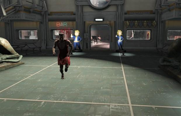 Fallout 4 red dress morning run through the vault.jpg