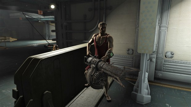 Fallout 4 red dress vault guard with minigun.jpg